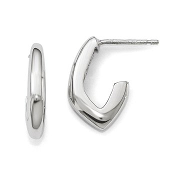 Leslie's Sterling Silver Rhodium-plated Polished Post Earrings