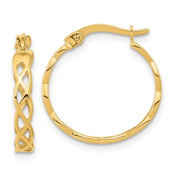 14k Gold Polished Intertwined Filigree Hoop Earrings