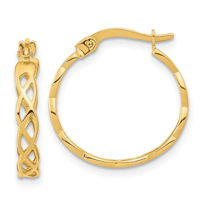 Quality Gold 14k Gold Polished Intertwined Filigree Hoop Earrings
