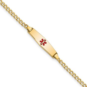 14k Medical Semi-Solid Soft Diamond Shape Red Enamel ID Cuban Bracelet
