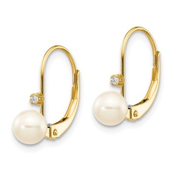 14K 5-6mm Round FW Cultured Pearl .02 ct. Diamond Leverback Earrings