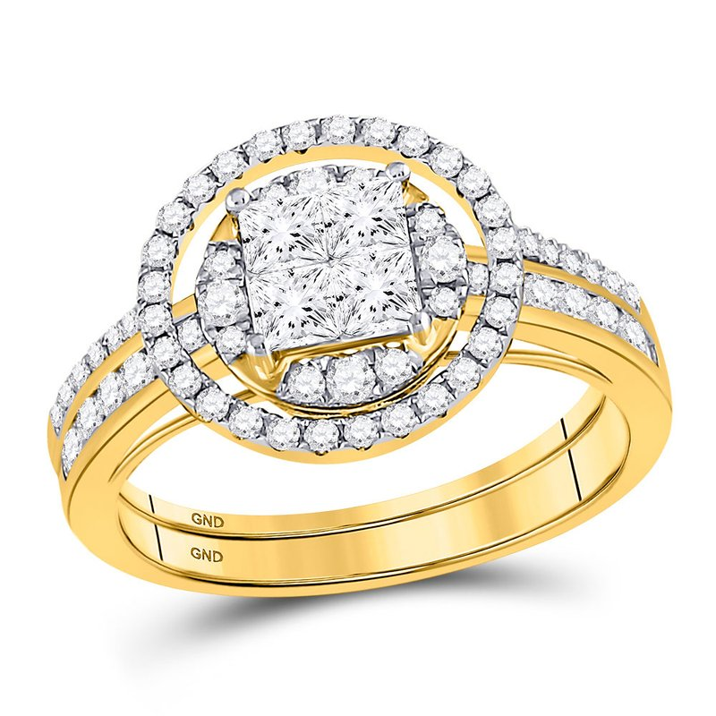 Kingdom Treasures 14kt Yellow Gold Womens Princess Diamond Bridal Wedding Engagement Ring Band Set 1.00 Cttw