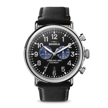 Runwell Chrono 47mm, Black Leather Strap