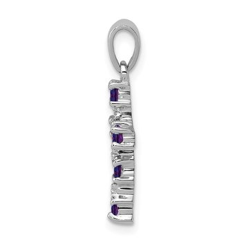 Sterling Silver Rhodium Amethyst & Diamond Accent Cross Pendant