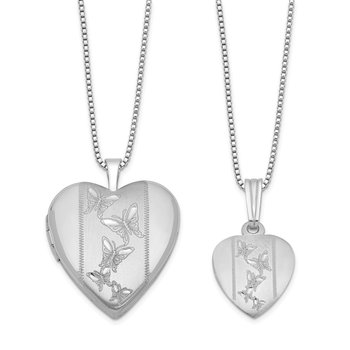Sterling Silver RH-plated Pol/Satin Butterfly Heart Locket & Pendant Set