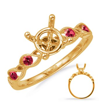 Yellow Gold Engagement Ring with Rubies