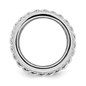 Sterling Silver Rhodium-plated CZ Spinning Chain Center Ring