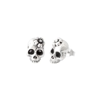 Sakura Skull Stud Earrings