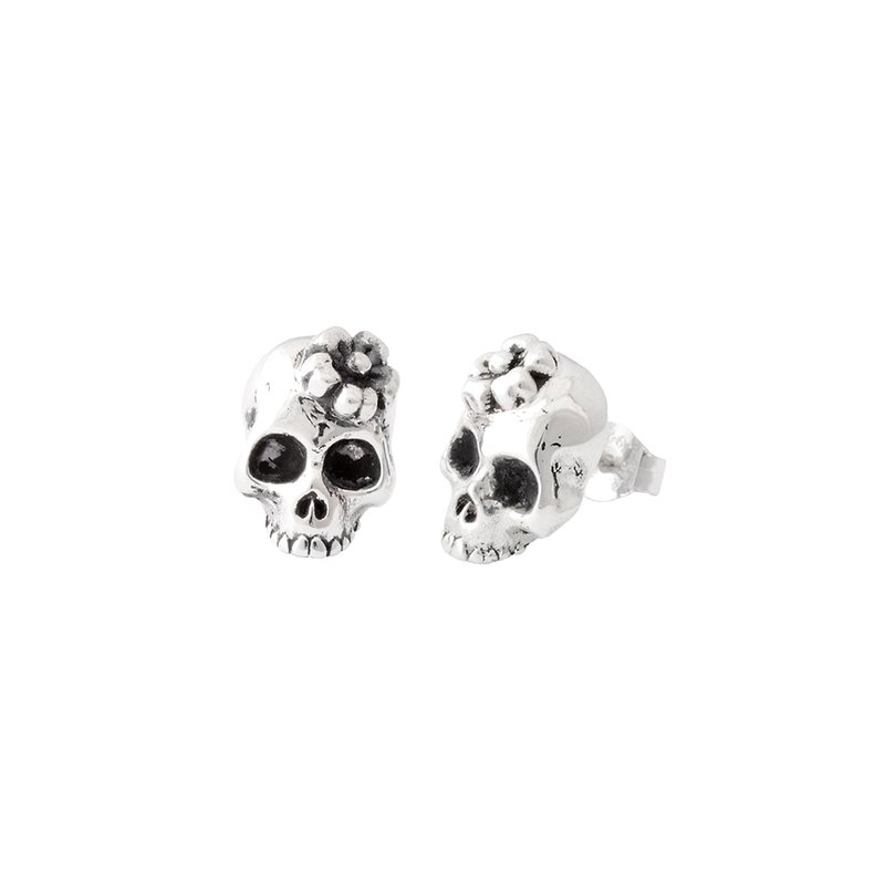 King Baby Sakura Skull Stud Earrings
