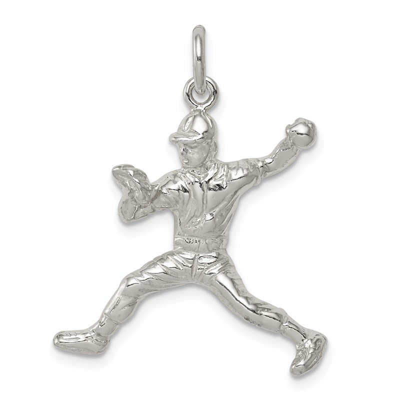 Quality Gold Sterling Silver Baseball Pitcher Charm