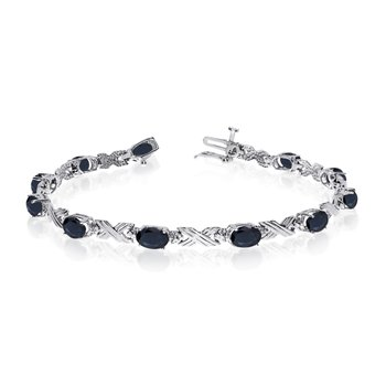 14K White Gold Oval Sapphire and Diamond Bracelet