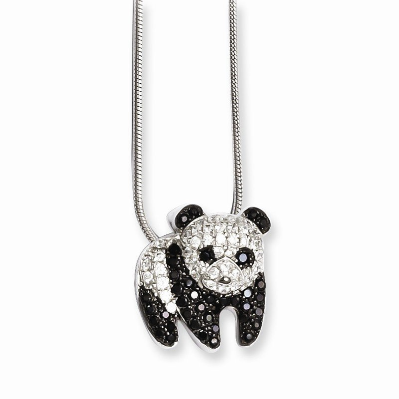 Quality Gold SS Rhodium-Plated CZ Brilliant Embers Panda Necklace