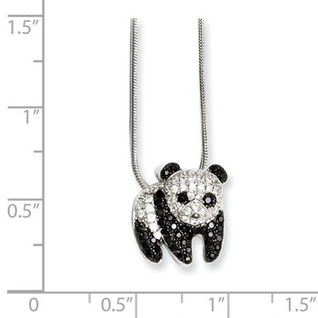 Sterling Silver Brilliant Embers Rhodium-plated CZ Panda Necklace