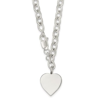 Sterling Silver Polished Engraveable Heart Necklace