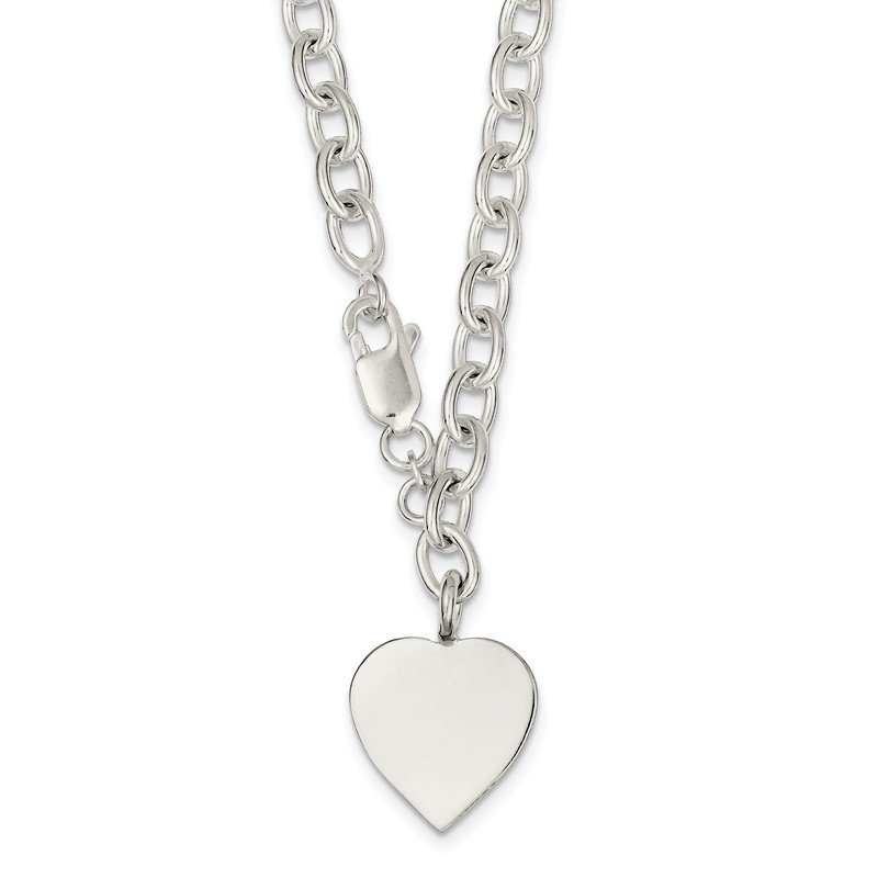 Quality Gold Sterling Silver Polished Engraveable Heart Necklace