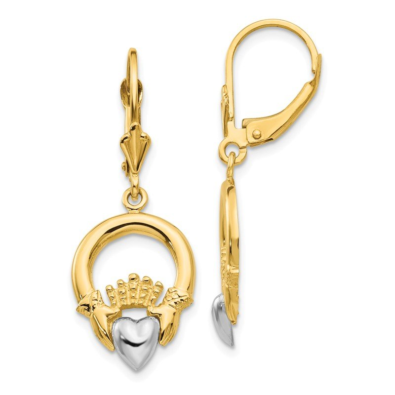 Quality Gold 14k Two-tone Claddagh Leverback Earrings