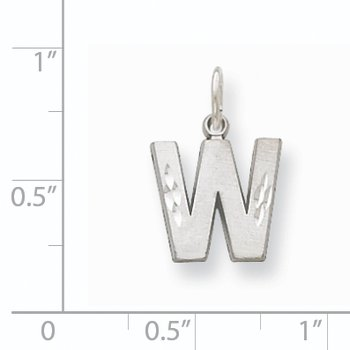 14KW Satin Diamond-cut Letter W Initial Charm