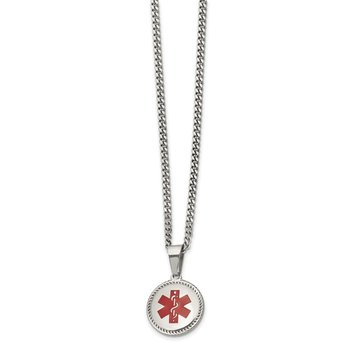 Stainless Steel Polished w/Red Enamel Circle Medical ID 20in Necklace