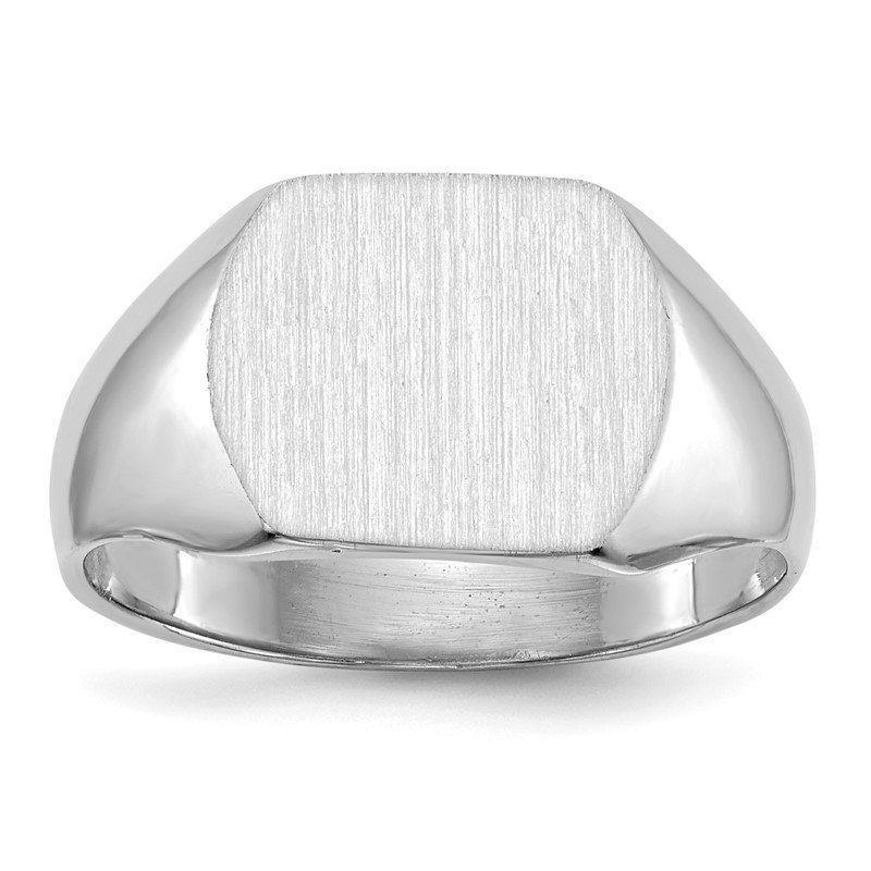 Quality Gold 14k White Gold 10.0x12.0mm Closed Back Signet Ring