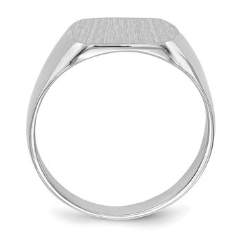 14k White Gold 10.0x12.0mm Closed Back Signet Ring