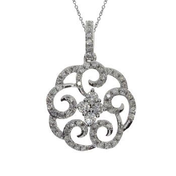 14K White Gold Round Diamond Fashion Pendant