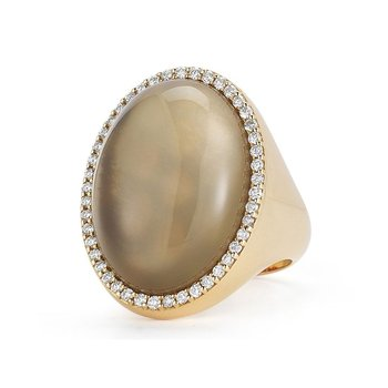 #21767 Of Ring With Diamonds, Quartz And Mother Of Pearl
