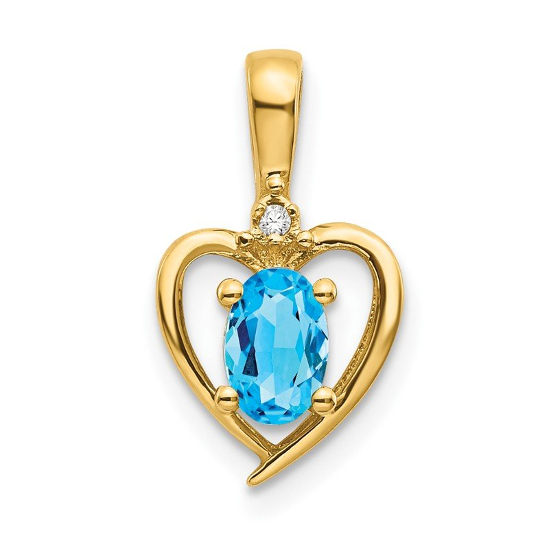 Quality Gold 14k Blue Topaz and Diamond Heart Pendant