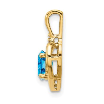 14k Blue Topaz and Diamond Heart Pendant