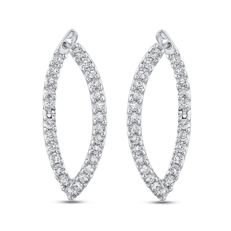 Essentials 10K White Gold 1.09 ct Round Diamond Fashion Earrings
