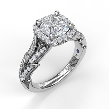 Cushion Halo Engagement Ring With Leaf Motif