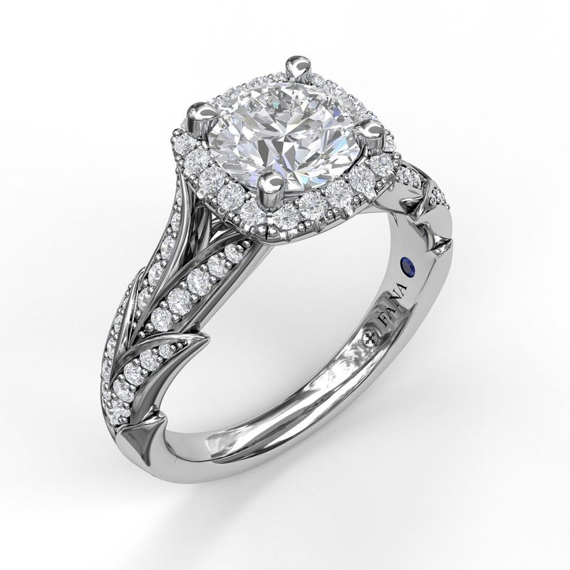 Fana Cushion Halo Engagement Ring With Leaf Motif