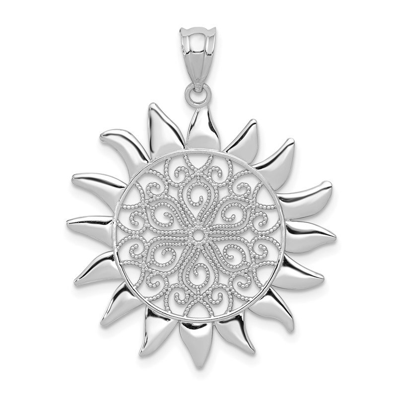 Fine Jewelry by JBD 14k White Gold Filigree Sun Pendant