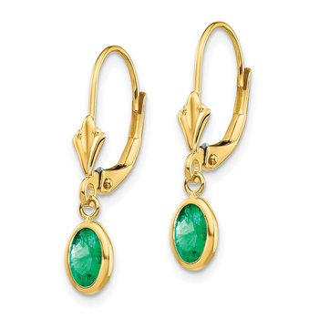 14k 6x4 Oval Bezel May/Emerald Leverback Earrings