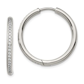 Stainless Steel Polished with CZ 2.5mm Hinged Hoop Earrings