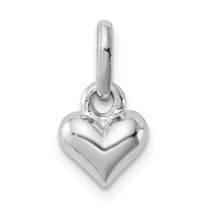 Quality Gold Sterling Silver RH Plated Child's Polished Heart Pendant