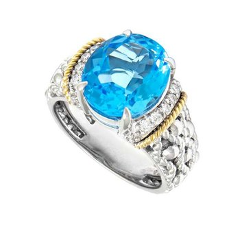 18kt & Sterling Silver Blue Topaz Ring