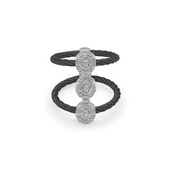 Black Cable Luster Triple Vertical Ring with 18kt White Gold & Diamonds