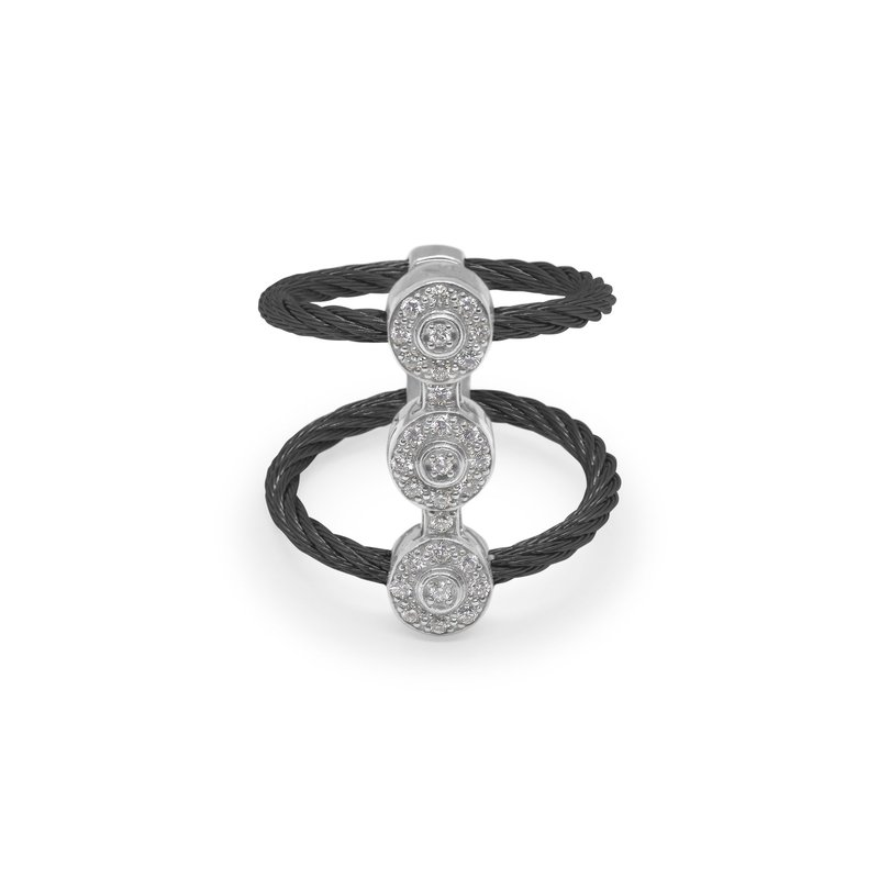 ALOR Catalog Black Cable Luster Triple Vertical Ring with 18kt White Gold & Diamonds