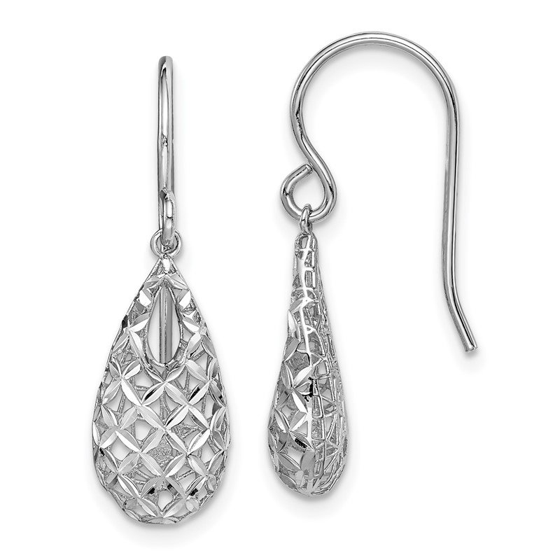 Quality Gold Sterling Silver Rhodium-plated D/C Tear Drop Dangle Earrings