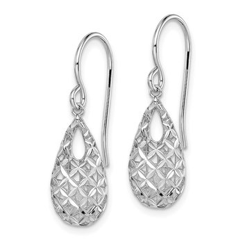 Sterling Silver Rhodium-plated D/C Tear Drop Dangle Earrings
