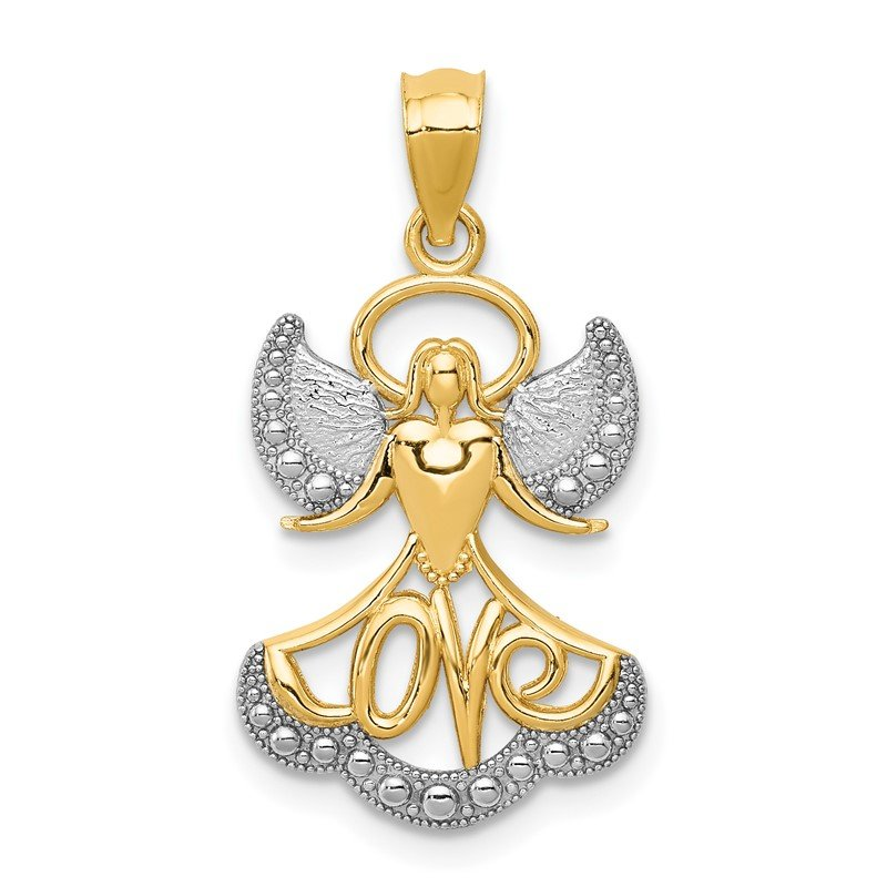 Quality Gold 14K w/Rhodium LOVE Angel Pendant