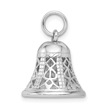 Sterling Silver Rhodium-platedPolished Movable Bell Charm