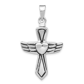 Sterling Silver Rhodium-plated Antiqued Cross w/Heart Ash HolderPenda