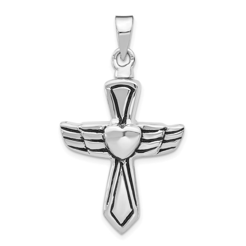 Quality Gold Sterling Silver Rhodium-plated Antiqued Cross w/Heart Ash HolderPenda