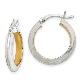 Sterling Silver Brushed Inner Gold Tone 3.25x20mm Hoop Earrings