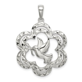 Sterling Silver Diamond-cut Dove Pendant