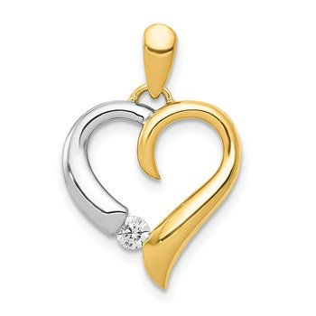 14k Two-tone 1/15ct. Diamond Heart Pendant