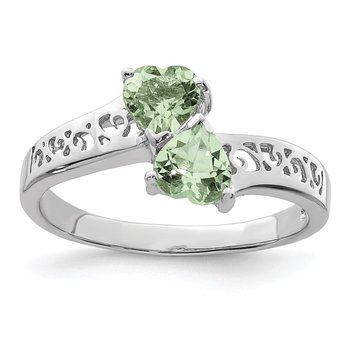 Sterling Silver Rhodium Green Quartz Heart Ring