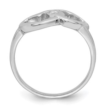 Sterling Silver Rhodium-plated Diamond accent Intertwined Heart Ring