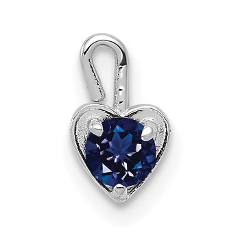 14k White Gold September Synthetic Birthstone Heart Charm